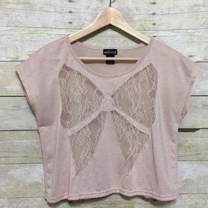 ❤️ Wet Seal lace bow front crop top, Jr. sz. M for sale